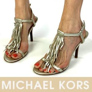 Brushed Platinum MICHAEL KORS Fringed strap heels
